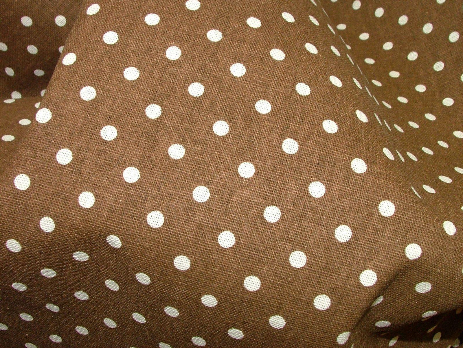 Brown Polka Dot Cotton Linen Curtain Soft Furnishing Craft